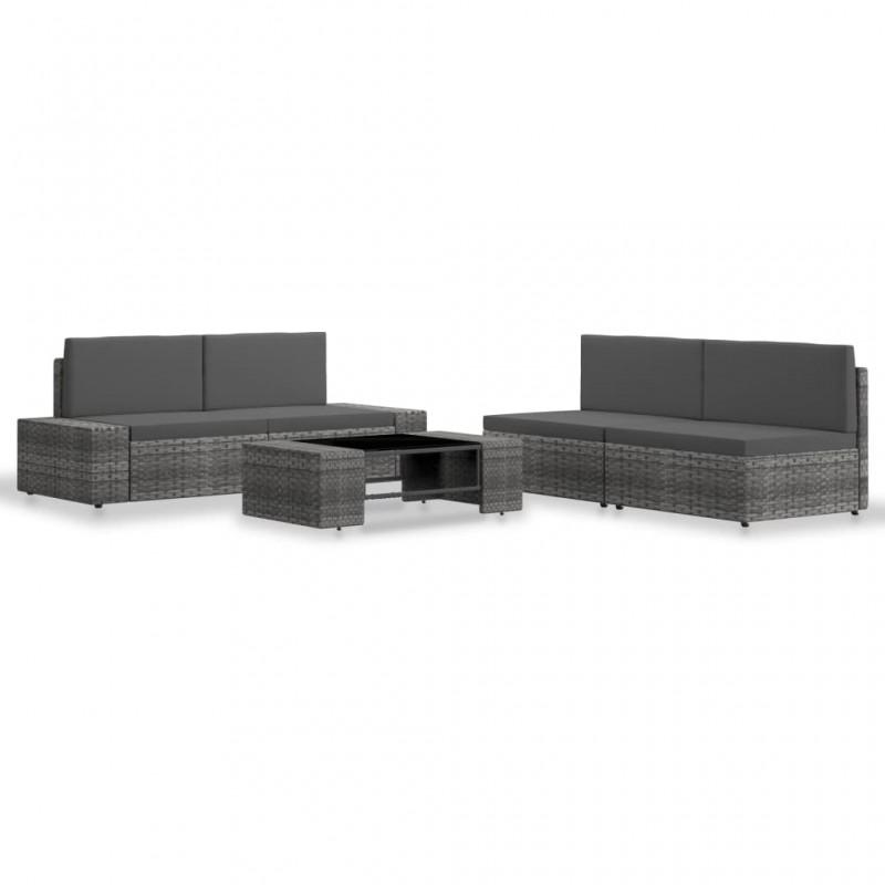 vidaXL Fundas muebles de jardín 2 uds 6 pers 10 ojales ratán 240x140cm