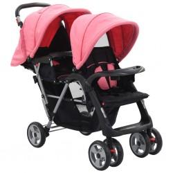 vidaXL Cochecito/Silla de bebé 2-en-1 aluminio rojo y negro