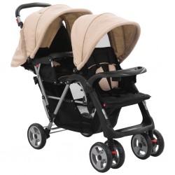 vidaXL Cochecito/Silla de bebé 2 en 1 aluminio azul y negro