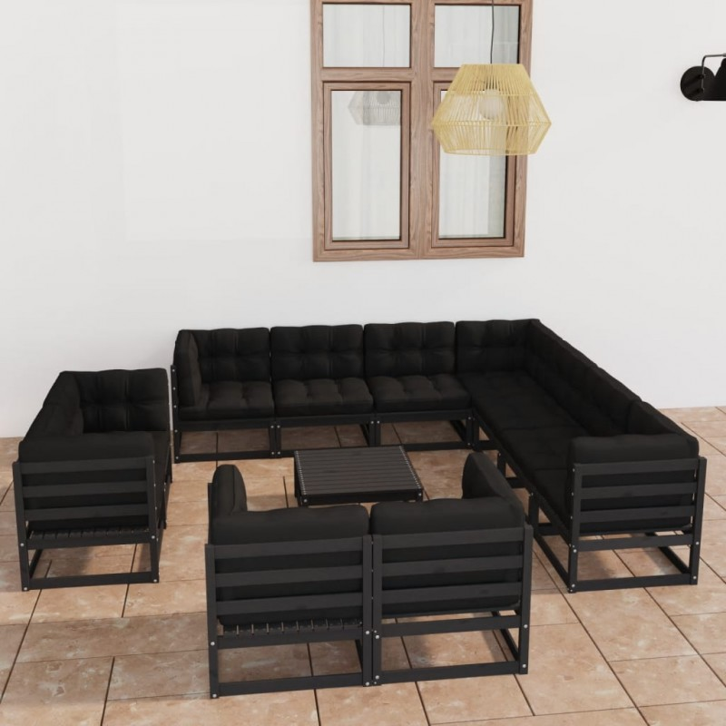 Set columpios negros reclinables de poli ratán para 2 personas