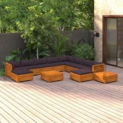 vidaXL Cobertizo triple de contenedor de basura madera impregnada 240L