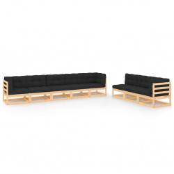 vidaXL Otomana de jardín de palés de madera gris