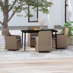 vidaXL Sofá seccional central 1 pza con cojines madera maciza acacia