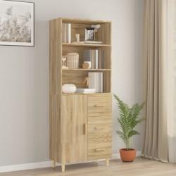 vidaXL Mueble para TV de aglomerado negro brillante 80x34x30 cm