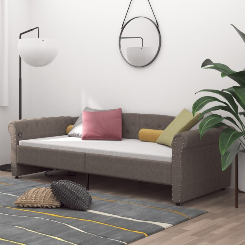 vidaXL Tumbona de suelo plegable de tela marrón