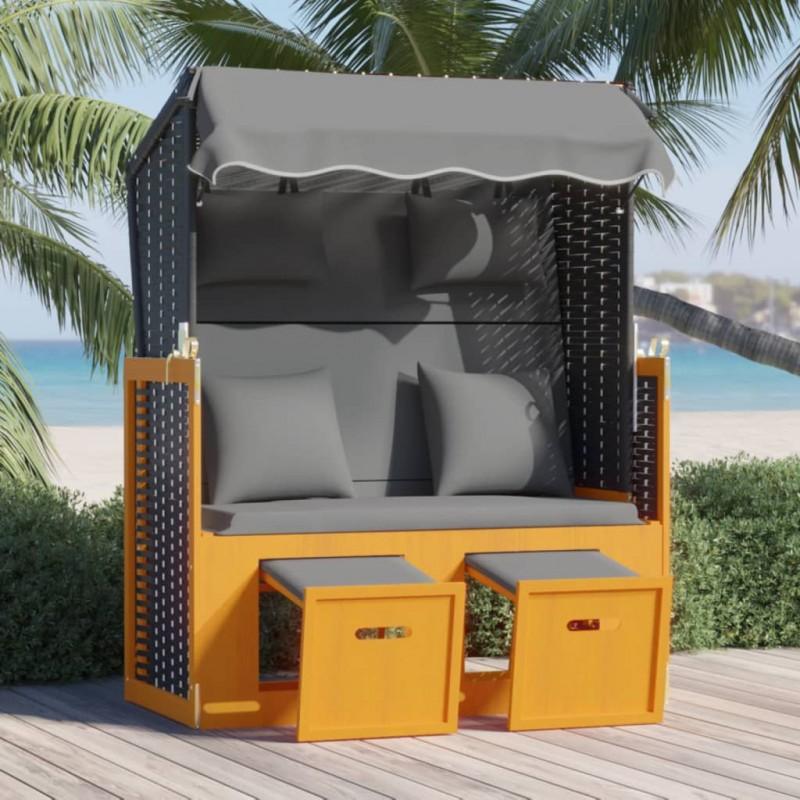 vidaXL Sillas de jardín reclinables 3 uds madera maciza de acacia