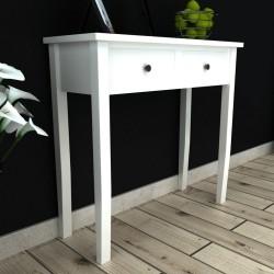 vidaXL Tocador con taburete y 3 espejos blanco