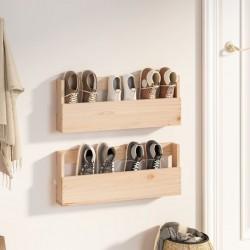 Tander Estantes de pared 2 uds aglomerado gris hormigón 100x15x20 cm