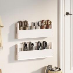 Tander Estantes de pared 2 uds aglomerado blanco brillante 100x15x20cm