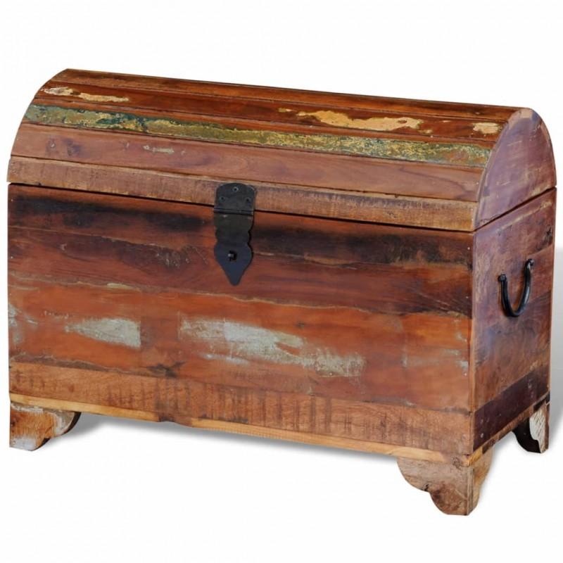 Mesa de TV de teca reciclada con 3 cajones apilables, Multicolor