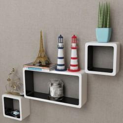 vidaXL Estantes de cubo de pared flotante MDF blanco-verde