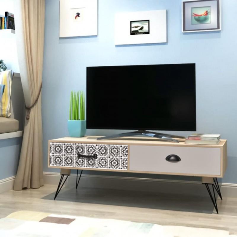 vidaXL Mueble para TV MDF 150x35x48,5 cm blanco brillante