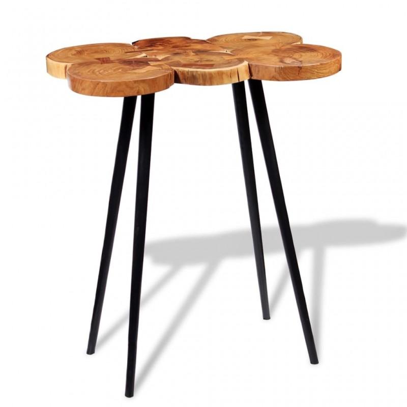 vidaXL Mueble de lavabo y espejo y 2 armarios laterales madera mango